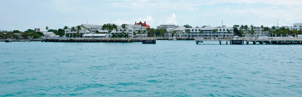 View of hotels in the harbor at Key West