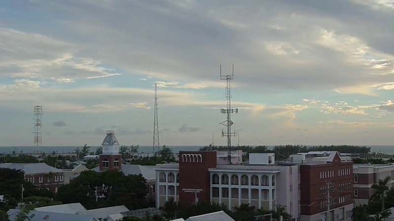 The roof of La Concha Hotel in Key Wes is a favorite for sundowners. This is looking west at all the antennas.