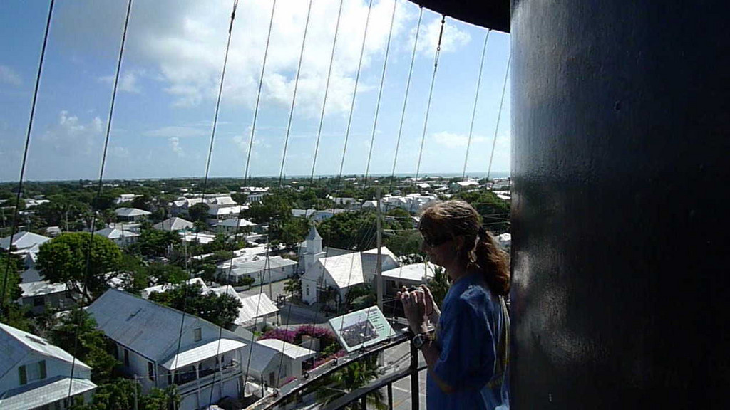 I'm not sure if these wires are original to the lighthouse or were added for the safety of visitors. Another view of Key West.