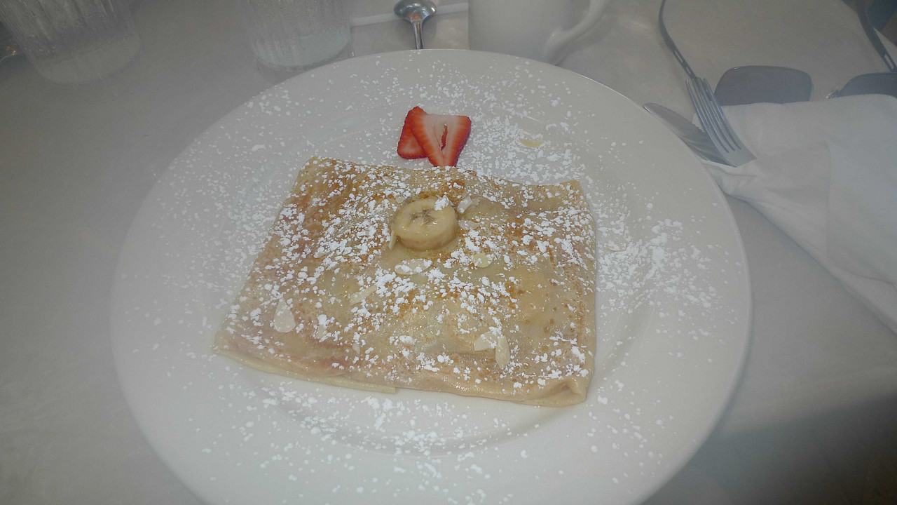 My breakfast was a banana-stuffed crepe.
