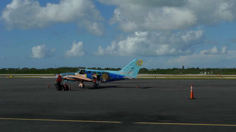 One of the colorfully painted planes that delivers people to Key West