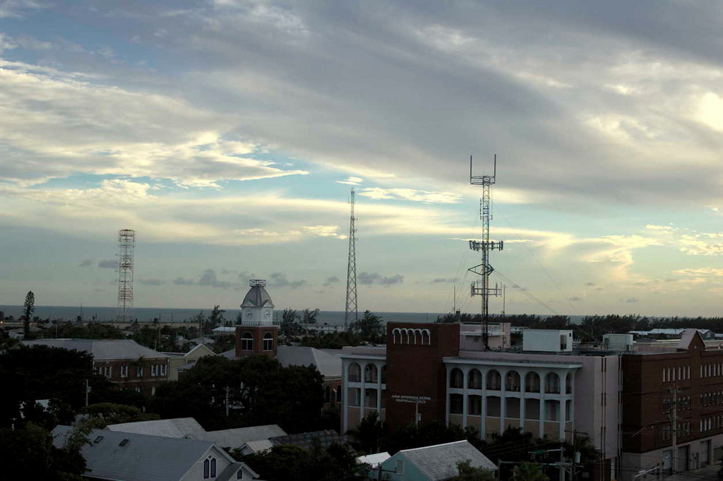 A view of some of the antennas on Key West, looking just a little east of the setting sun.