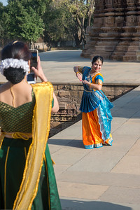 Mukta Sathe taking a picture of Sarika Prabhu Haris, of Rita Mitra Mustaphi, Katha Dance Theater, USA.   Khajuraho Dance Festival, Feb 2017.