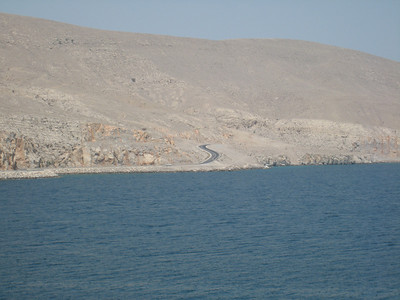 View towards the road that leads into Khasab, some amazing cliff top views on the way.
