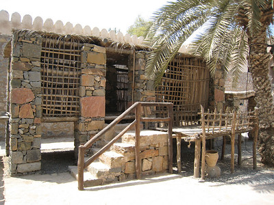 The arish, summer house replica in the courtyard at Khasab