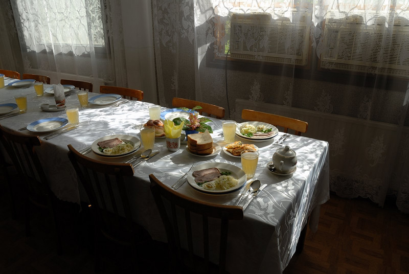 Included was this huge Ukrainian lunch, supposedly with all food brought in from outside the zone:)