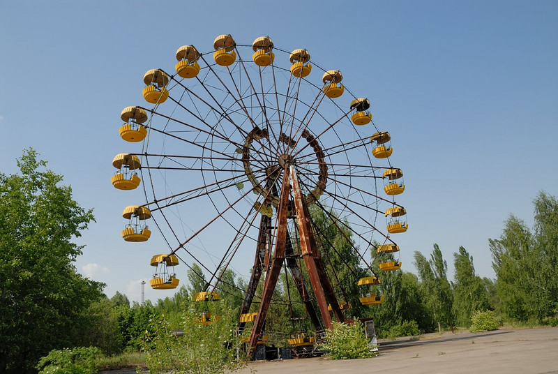 The amusement park was scheduled to open on 1 May 1986, for May Day...several days after the accident, and thus the rides were never used.  Today they sit here rusting and radioactive...part of this ghost town....