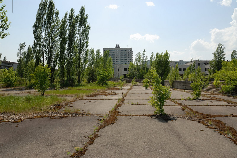 Today the town serves as a window back in time, showing things pretty much frozen as they were in 1986 in the Soviet Union.  At the same time nature has run free, and what used to be a concrete Soviet square is now greatly overgrown.