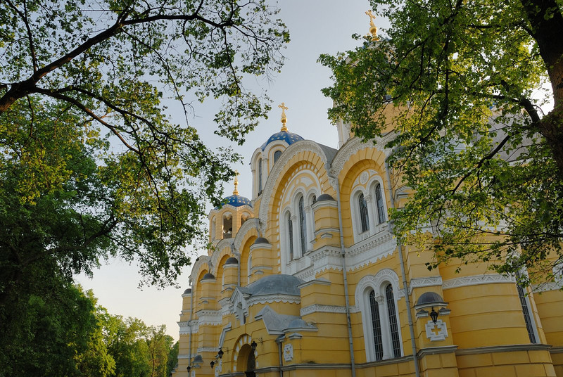 St Volodymyr's Cathedral (Ukrainian: Патріарший кафедральний собор св. Володимира, Russian: Кафедральный собор Святого Владимира, Владимирский собор; also known as the Volodymyrsky Cathedral, Vladimirsky Cathedral, or St. Vladimir's Cathedral) is a cathedral in the centre of Kiev. It is one of the city's major landmarks and the mother cathedral of the Ukrainian Orthodox Church - Kiev Patriarchy, one of two major Ukrainian Orthodox Churches.<br /> <br /> In 1852, metropolitan Philaret of Moscow suggested a large cathedral should be built in Kiev to commemorate the 900th anniversary of the baptism of Kievan Rus by prince Vladimir (Volodymyr) the Great of Kiev (St. Vladimir). People from all over the Russian Empire started donating to this cause, so that by 1859 the cathedral fund had amassed a huge sum of 100,000 rubles. The Kiev Pechersk Lavra (Monastery of the Caves) produced one million bricks and presented them to the cathedral as well. The design was executed in delightful Byzantine style initially by the architects I. Schtrom, P. Sparro, R. Bemhardt, K. Mayevsky, V. Nikolayev. The final version of the design belongs to A. Beretti. It is a traditional six-piered, three-apsed temple crowned by seven cupolas. The height to the cross of the main dome is 49 meters.