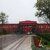 Tsar Nicholas II ordered the building painted red in response to student protests during World War I to remind them of blood spilled by Ukrainian soldiers.