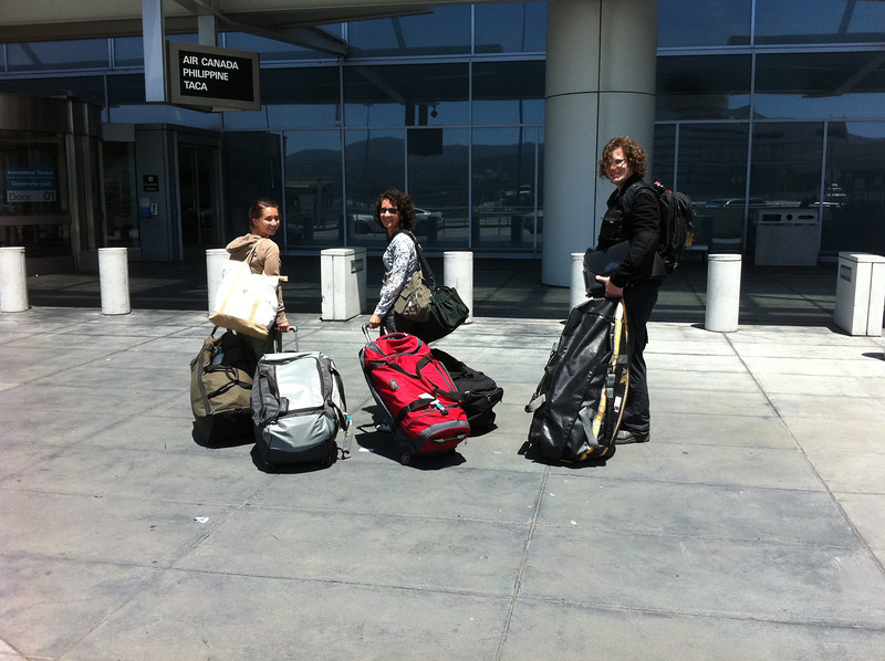 Three of our team members leaving from SFO. The entire 23 person team checked 50+ bags.