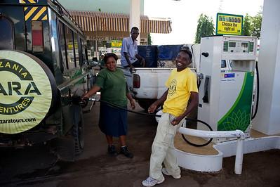 Filling up, Moshi, Tanzania.