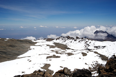Day 7. Lemosho route on the way to Uhuru peak (5895m). View of the crater.