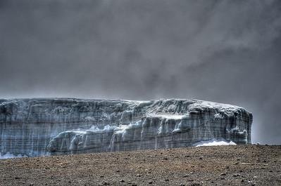 Day 7. Uhuru peak (5895m). Residing glacier. Still about 30m high.
