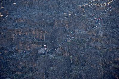 Day 5. Lemosho route on the way to Karanga camp (3995m) via the Baranco Wall (4200m).