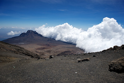 Day 7. Lemosho route on the way to Uhuru peak (5895m). View on the Mawenzi peak from Stella Point (5739m).