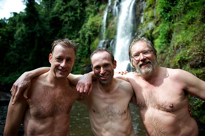 Casper, Hugo and Ralph, Kinukamori Waterfalls in Marangu. Moshi district, Tanzania.