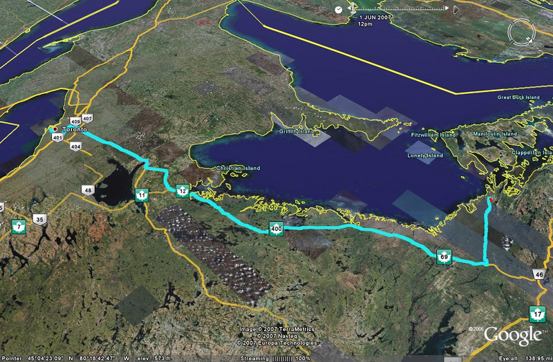 The route from downtown Toronto to the Killarney Provincial Park