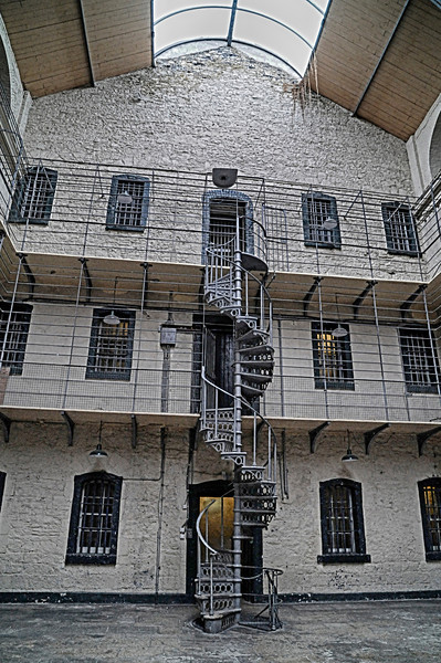 Cells and cast iron stairs in the Victorian part of the prison
