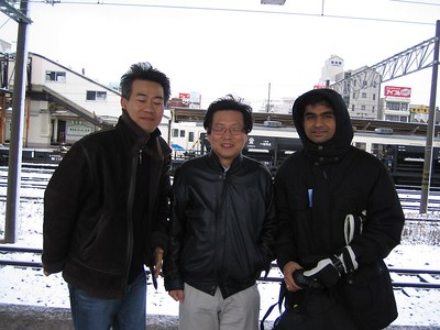 The other guys from Applied: Beyong, Chong, and Amit. At the train station in Uozu.