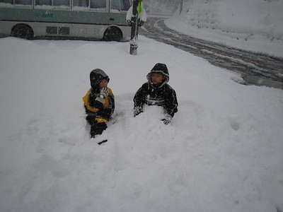 I met these kids while waiting for the guys. We played in the snow for about 30 min. It was so fun!