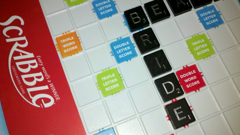 The second word of our first Scrabble game... appropriate since it was our 15th wedding anniversary.
