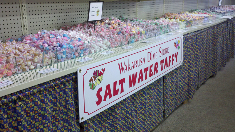 "Wakarusa Dime Store Taffy<br /> First stop on our anniversary trip was the Wakarusa Dime Store for some jumbo jelly beans and salt water taffy. Peggy loves salt water taffy.<br />  <a href=""http://www.jumbojellybeans.com/"">http://www.jumbojellybeans.com/</a><br /> 103 E Waterford St.<br /> Wakarusa, IN 46573"