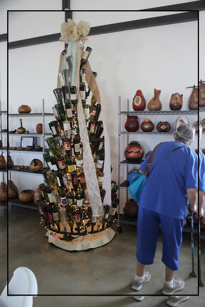 Christmas tree made of wine bottles.