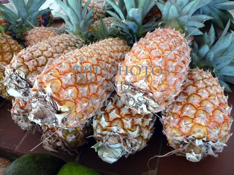 Pineapples at the market in Bequia island of St Vincent.