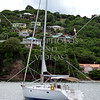 Sailboat anchored off the shore of Bequia island of St Vincent.