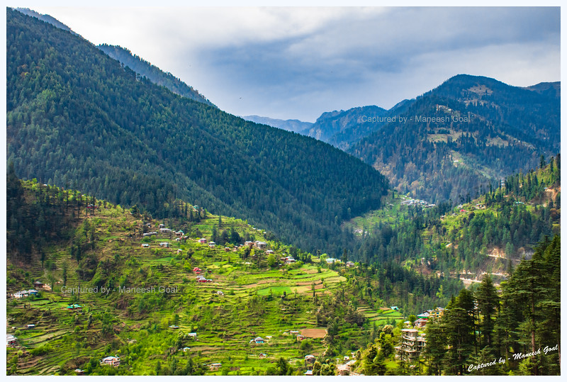 Vistas in Banjar region on a cloudy day, Tirthan Valley