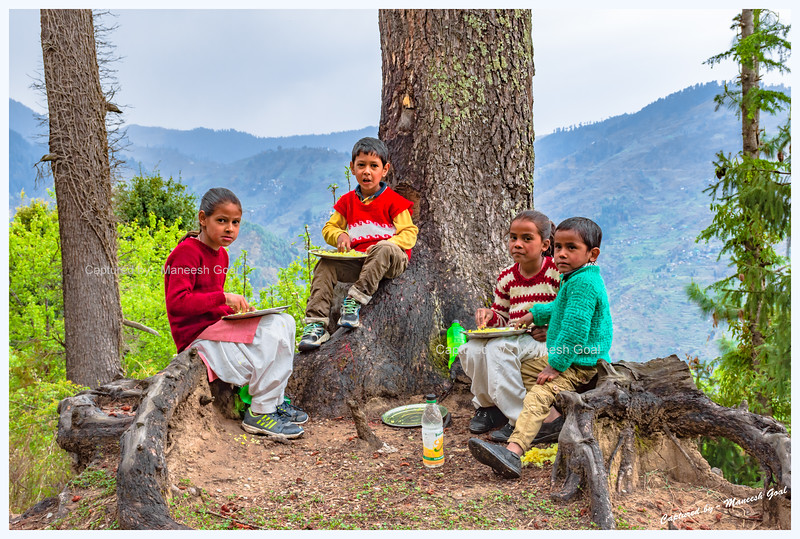 School kids. Enjoying their lunch. Pedcha village.