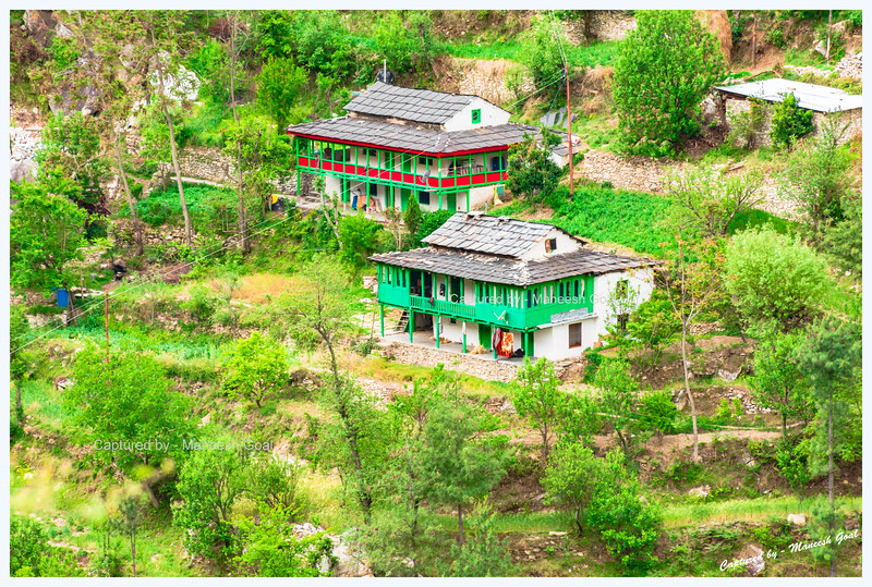 Traditional Himachali houses in Banjar region, Tirthan Valley