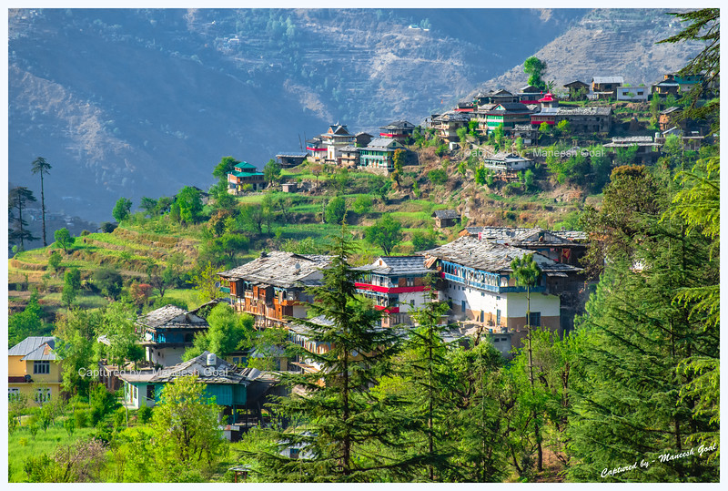 Village with several traditional Himachali structures - seen from Shringi Rishi Temple road.
