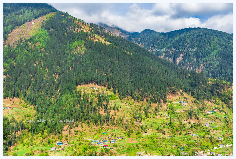 Sights around Jibhi. Green forests and fields peppered with traditional Himachali structures.