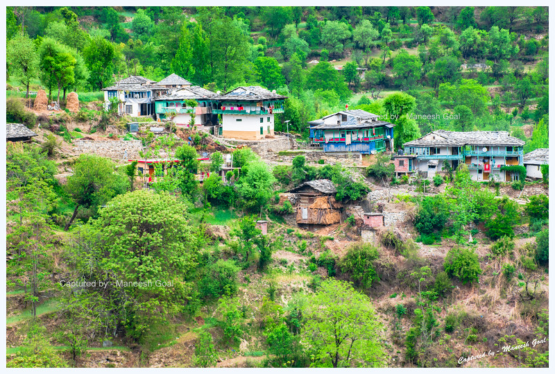 Cluster of traditional Himachali houses in Banjar region, Tirthan Valley