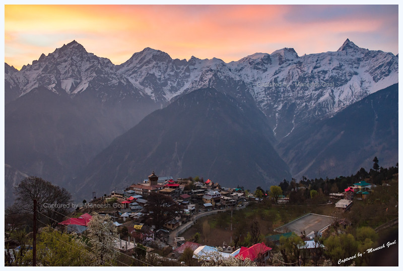 Just before sunrise - Kalpa village and Kinner Kailash (extreme left), Jorkanden (to Kinner Kailash's left), Raldang (extreme right) peaks.