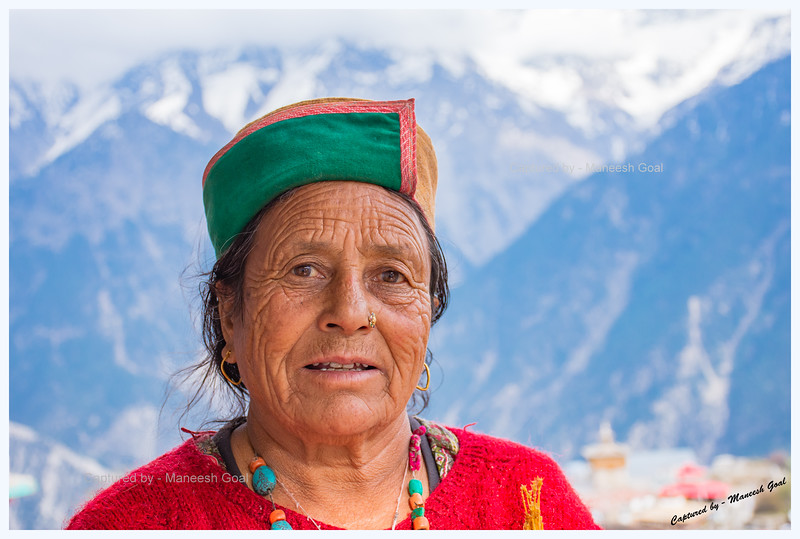 Stately Kinnauri woman in traditional attire. Kalpa.
