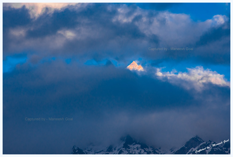 Kinner Kailash peak peeping out of the clouds