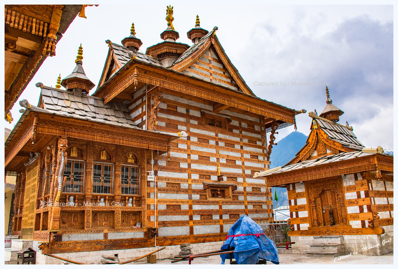 A Temple in Pangi - demonstrating the intricate and exquisite Himachali Kath-kuni architectural style.
