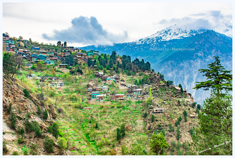 View of the pretty Pangi village on an overcast day