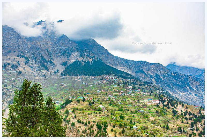 Another view of Pangi village from afar on an overcast day