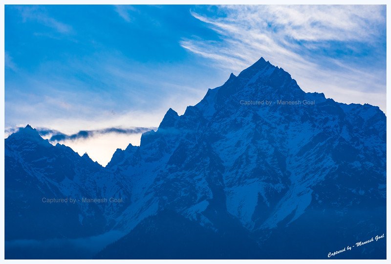 Before sunrise. Kinner Kailash peak. Kinner Kailash Shivling can be seen in the 'V' on the left. Kalpa.