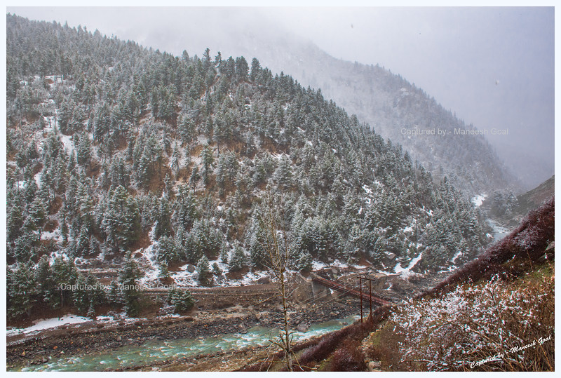 Snow fall at Chitkul. Baspa River