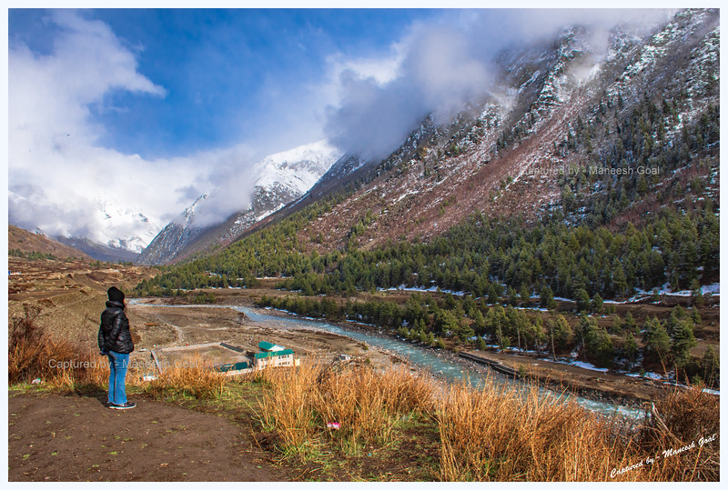 Enjoying the vistas. Sky begins to clear after the snowfall. Chitkul. Baspa River.