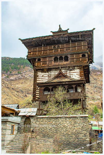 Kamru Fort, an ancient tower-fort built in traditional Himachali architectural style. No one is allowed entry inside the tower.