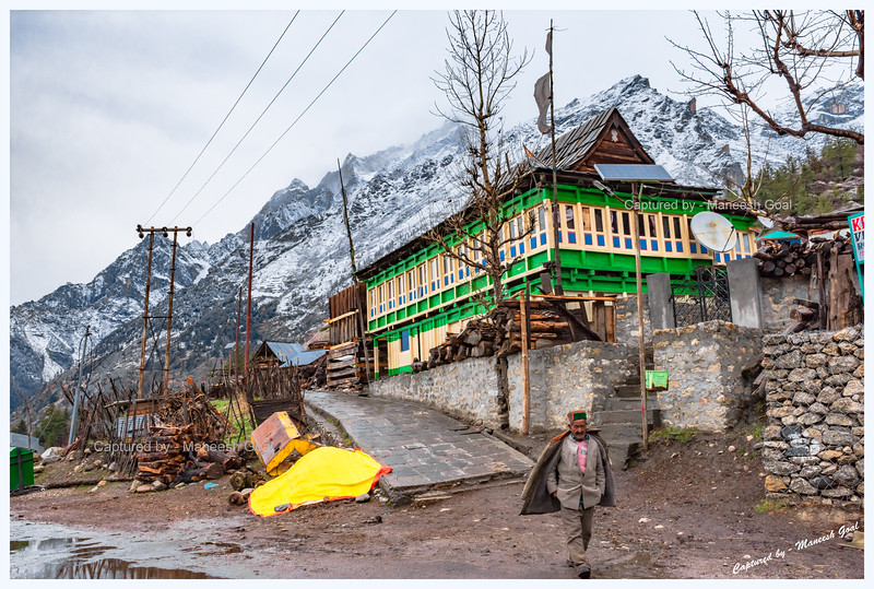 Rakcham village. Most of the houses here are built in traditional Himachali style.