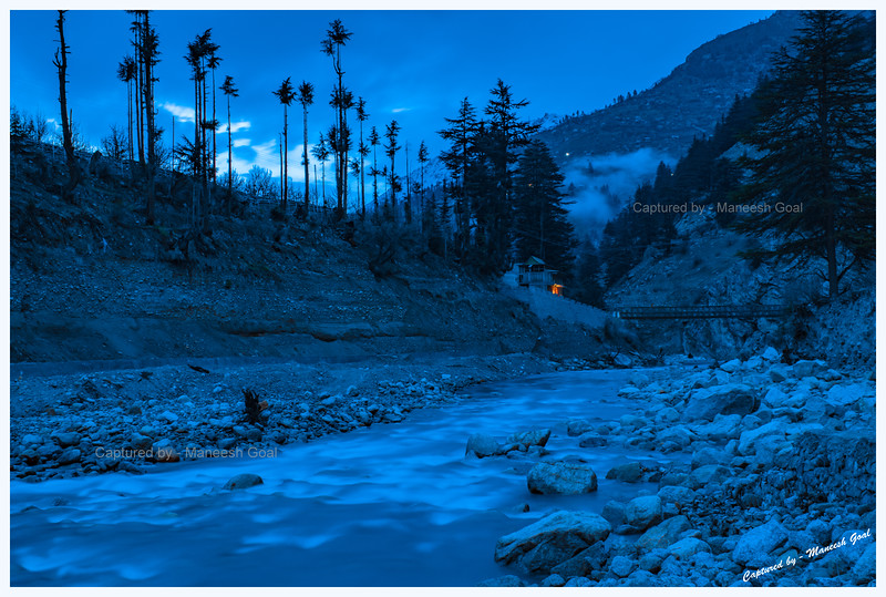 Baspa River at the blue-hour. Batseri. (Long exposure shot)