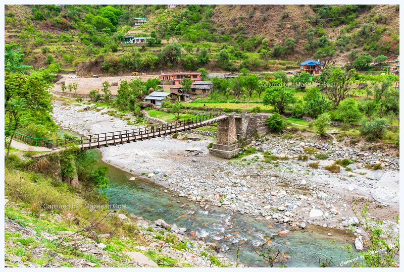 Charming foot bridge over Sainj River, Sainj Valley