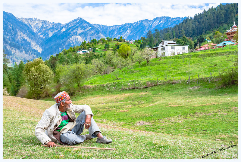 Shepherd relaxing in the Shangarh meadow, Sainj Valley.